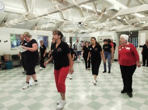 Julie, our charter instructor, and Evy, one of our current instructors at the front of the dance.